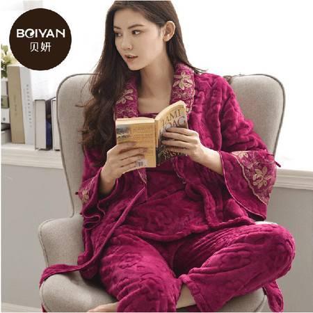 秋冬新品 高贵三件套加厚法兰绒女人睡衣舒适珊瑚绒家居套装P012