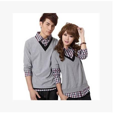 新款情侣装长袖韩版翻领格子假两件情侣衫T恤 NC8019