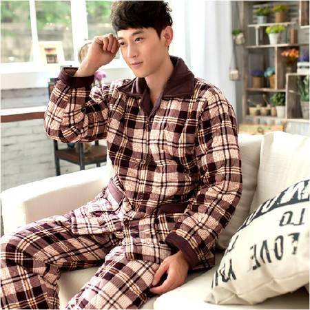 冬季加厚睡衣男士家居服 保暖男式珊瑚绒夹棉睡衣套装P021