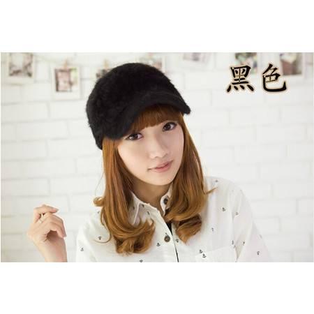 冬季棒球帽 韩版时尚纯色仿兔毛鸭舌帽子 B0034