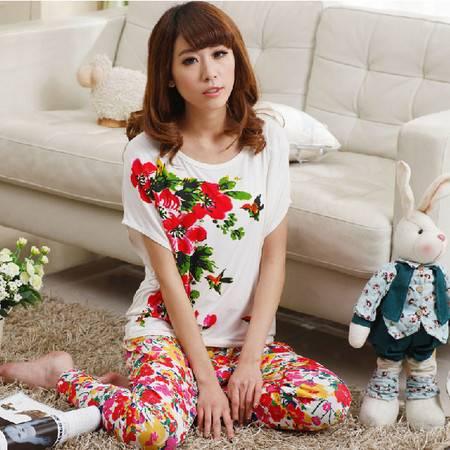 睡衣女莫代尔夏季短袖长裤休闲时尚韩版超弹性外出家居服女人套装P194
