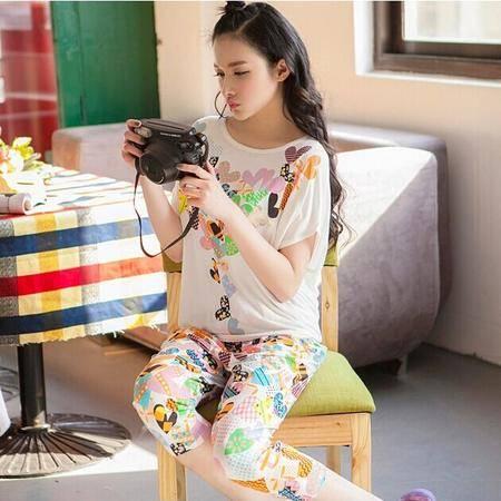 莫代尔面料夏季新款睡衣休闲女家居服可爱短袖套装时尚优雅超弹可外穿睡衣P193