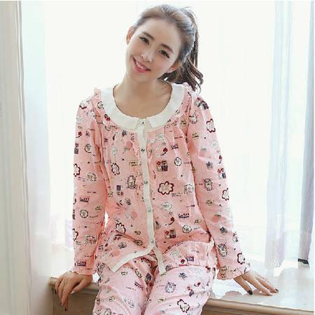 韩国春季新款上市纯棉睡衣女长袖可爱时尚韩版家居服 可外穿套装P182