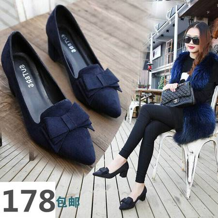 新秋季韩国风深口尖头韩版女鞋冬款式粗跟高跟单鞋34蝴蝶结小码33码  TSH165