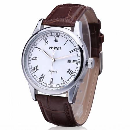 新款男士经典商务真皮带石英表 大表盘时尚防水日历男手表 B6980