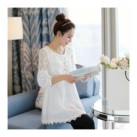 新款韩版OL小香风a字蕾丝衫拼接打底衫斗篷裙摆式上装NC8561