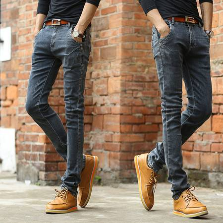 春夏新款弹力韩版修身显瘦黑色小脚牛仔裤男装休闲长裤NC605