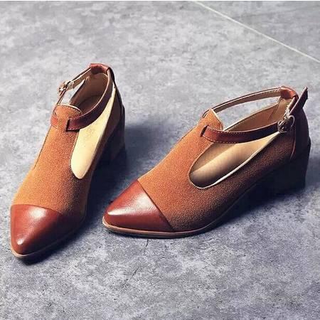 单鞋女尖头中低跟 韩版潮真皮女鞋磨砂皮粗跟单鞋女春季新款TSH170