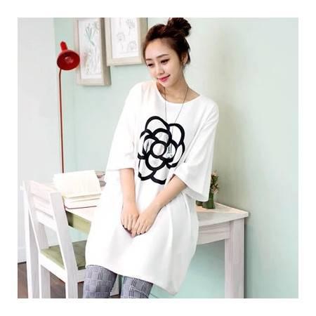 春夏新款 韩版女装宽松长款花朵简约时尚短袖T恤 潮 NC149