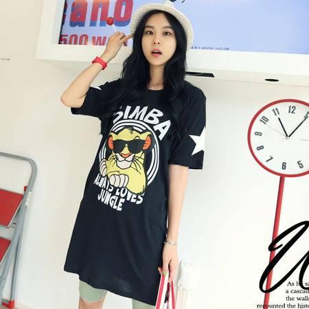夏装新款 韩版女装宽松女装长款可爱虎头圆领短袖T恤 潮NC183