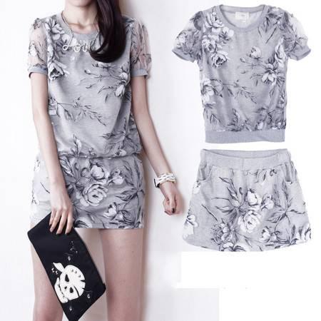 新款欧根纱印花刺绣拼接短袖短裙卫衣套装女款夏装潮 NC8809