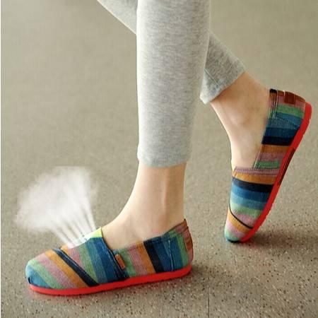 春夏款女士帆布鞋低帮平底单鞋一脚蹬懒人鞋子韩版休闲布鞋潮TSH192