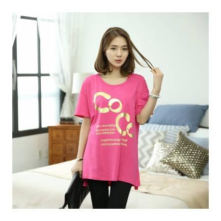 夏季新款大码韩版女士短袖t恤中长款韩范宽松t桖 NC2132