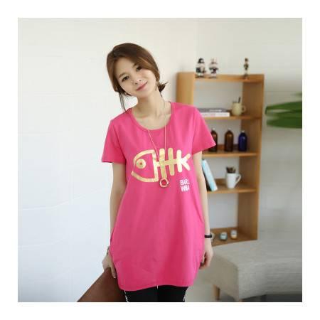 夏装新款可爱中长款短袖t恤女款韩版宽松上衣t桖NC7012