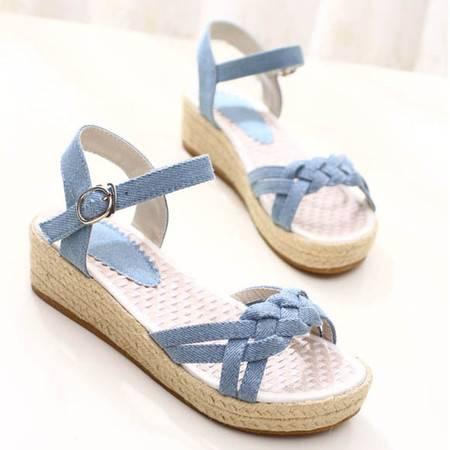 小清新 学生女鞋 草编坡跟牛仔凉鞋编织带麻底凉鞋TSH209