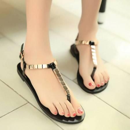 夏季新款方形金属扣夹趾平跟女凉鞋 韩版平底夹脚女鞋 沙滩鞋TSH212
