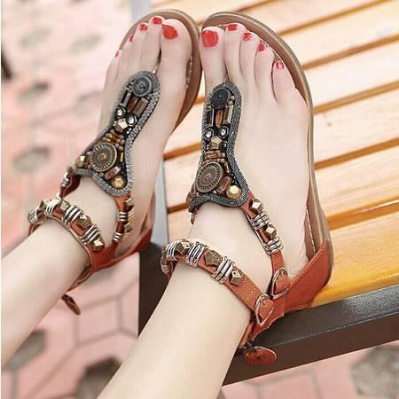 夏季新款民族风 波西米亚凉鞋 平底学生罗马水钻平跟沙滩鞋女TSH218
