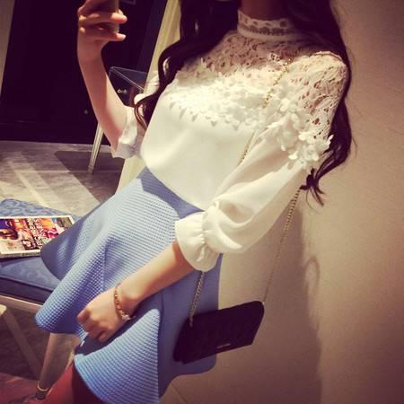 韩版淑女气质白色蕾丝拼接上衣雪纺衫 NC3306