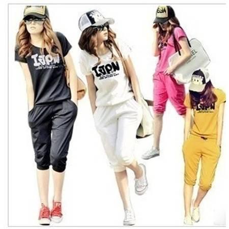 新款字母印花短袖纯棉休闲运动套装T恤+七分裤 NC8376