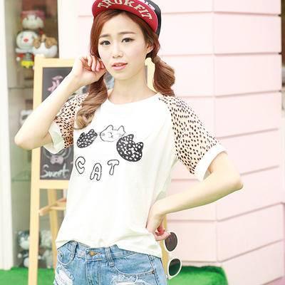 夏款小猫新款短袖纯棉t恤 韩版修身圆领体恤打底衫女NC8111