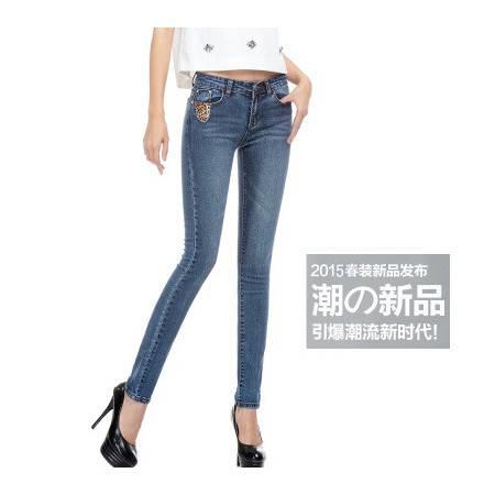 韩版新款牛仔裤女春装新款显瘦修身大码小脚铅笔裤女NC448
