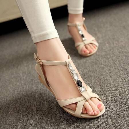 头层牛皮夏季韩版新款女坡跟凉鞋子露趾大码防滑罗马真皮女鞋TSH223