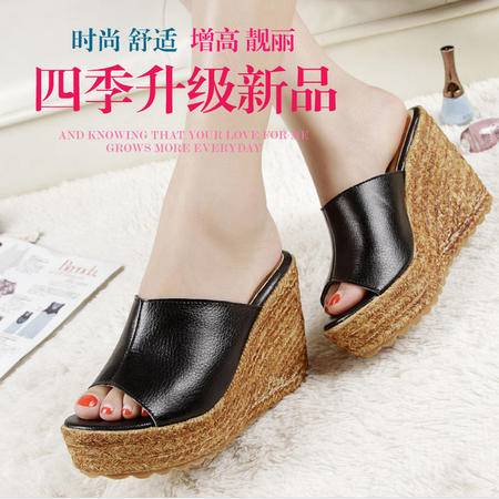 韩版牛皮坡跟凉鞋真皮一字编织松糕厚底拖鞋鱼嘴高跟女鞋TSH231