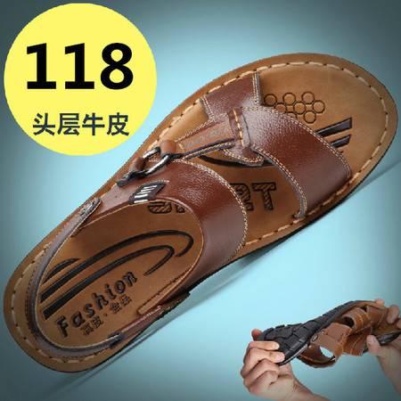 新款夏季男士休闲牛皮爸爸凉鞋男凉鞋真皮正品大码凉鞋沙滩鞋TSH238