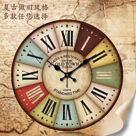 16英寸地中海欧式乡村田园复古客厅壁钟创意简约装饰静音木质挂钟表QGN022