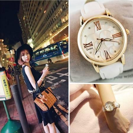 韩国正品 皮带女表 防水手表 时尚 水钻女表 石英表 手表女QGN014