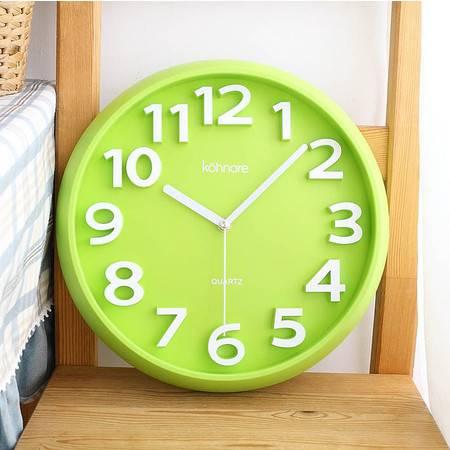 时尚糖果色圆形数字挂钟 客厅卧室静音时钟大款 钟表 QGN019
