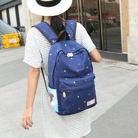 韩版双肩包潮女中学生书包 休闲旅行包学院风帆布背包 GC2190