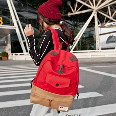 新款学院双肩包背包 时尚休闲旅行包韩版帆布书包女包 GC1210