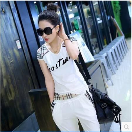 新款韩版大码休闲套装女夏时尚显瘦格子短袖运动套装女两件套NC9380