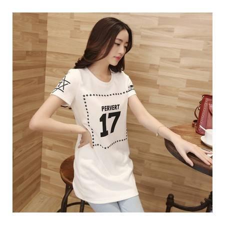 新款夏装女T恤韩版修身中长款短袖显瘦气质休闲打底衫潮 NC1319
