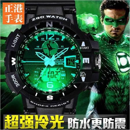 新款潮男带闹钟跑步电子表 青少年大表盘男表 双显示运动手表QGN032