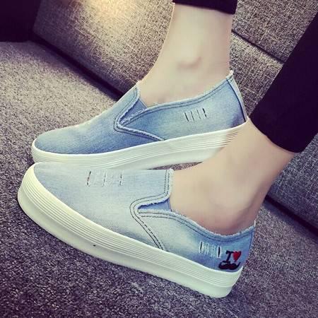 秋季帆布鞋女鞋厚底乐福鞋牛仔布鞋学生一脚蹬懒人鞋休闲板鞋TSH242