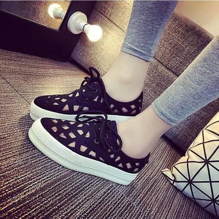 厚底帆布鞋女韩版休闲增高低帮镂空板鞋透气学生球鞋女松糕布鞋潮TSH242
