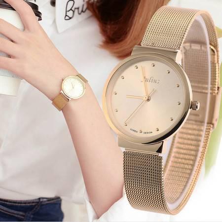 Julius聚利时韩国简约超薄女士手表 时尚复古表 防水钢带女表QGN058