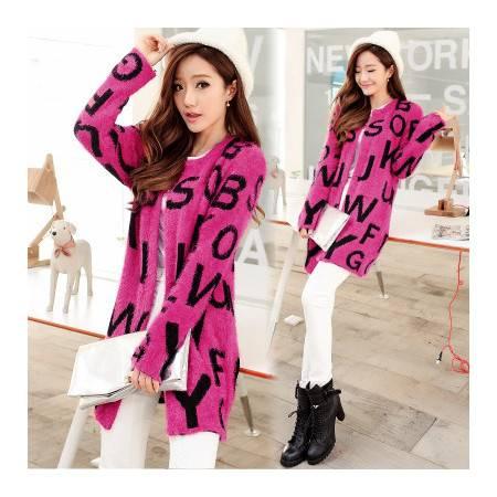 秋装新款韩版女士马海毛毛衣针织衫女开衫中长款宽松外套薄NC9358