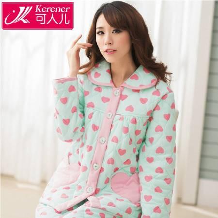 冬季加厚夹棉睡衣女保暖长袖女保暖睡衣秋冬款家居服套装P223