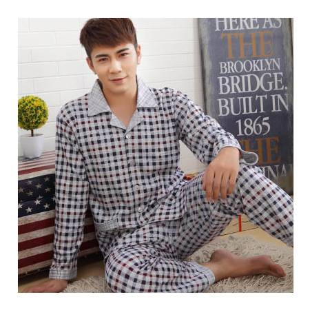 春秋季男士纯棉睡衣中老年男式长袖睡衣套装加肥加大码全棉家居服P239