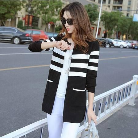 春秋女装韩版新款长袖条纹中长款外搭针织衫女开衫夏季薄外套ouf514
