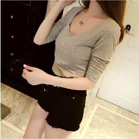 春秋季新品黑白纯色圆领长袖T恤女士打底衫学生修身显瘦上衣ouf503