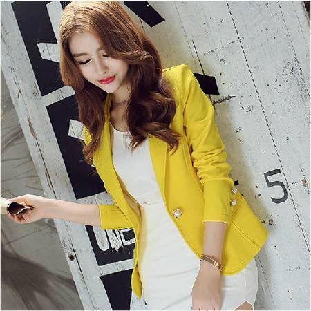 秋冬新款女士韩版小西装修身长袖纯色时尚外套ouf269