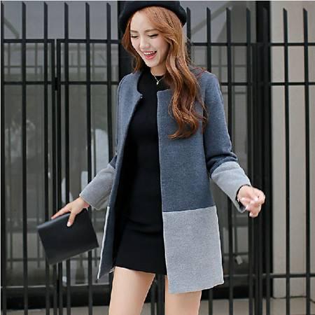 秋冬新款韩版女装中长款修身毛呢外套呢大衣宽松大码潮胖mm  ouf272