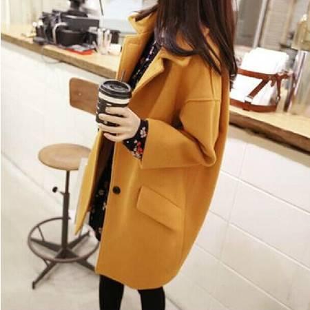 秋冬新款韩版女装气质中长款大衣毛呢外套大码潮ouf278