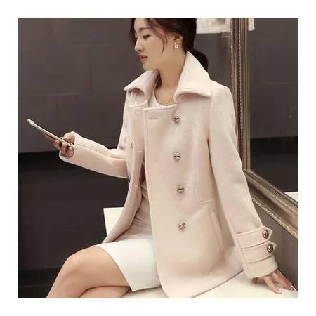 秋装新款毛呢外套女韩版中长款修身长袖翻领呢大衣女潮NC8008