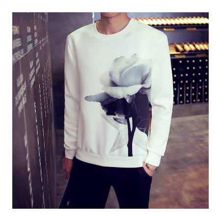 中国风休闲套头卫衣薄款太空棉修身长袖T恤W29
