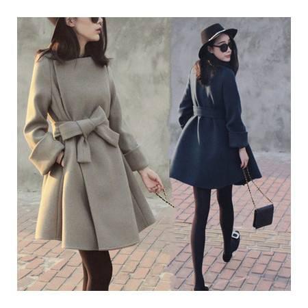 秋冬装欧洲站中长款显瘦时尚百搭毛呢外套女呢大衣外套NC9090